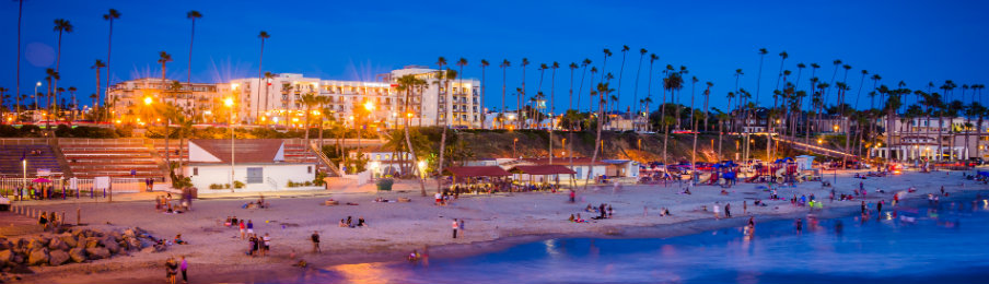 Beach at night seen from the pier in Oceanside, California