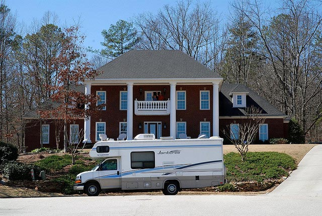 RV parked in front of Birmingham home