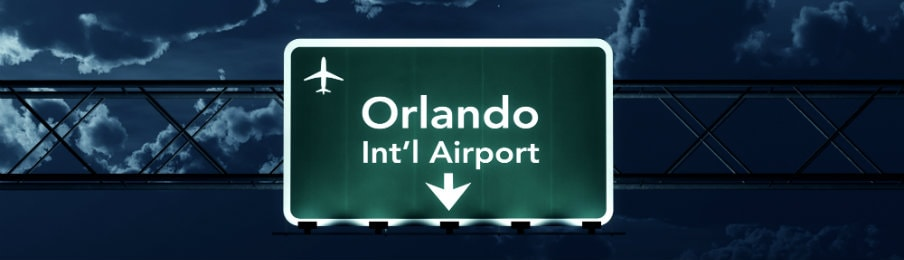 orlando airport sign at night