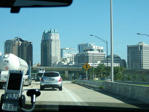 Driving into Downtown Orlando