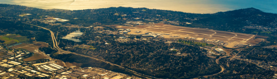 aerial view of Seattle Airport