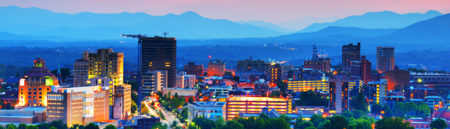 Asheville, North Carolina, USA at twilight
