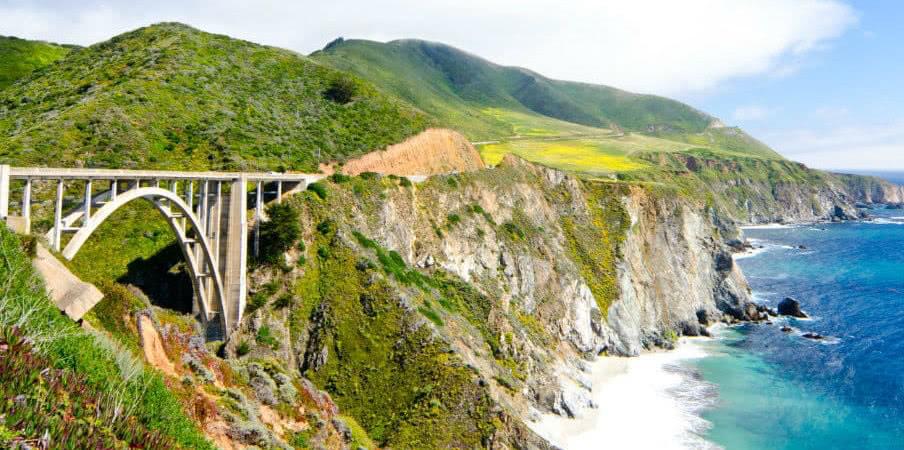 Bixby bridge in California along Pacific Coast, USA