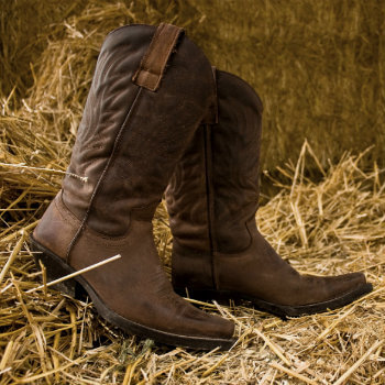 brown boots on hay