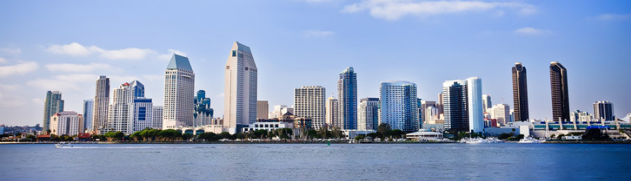 san diego city skyline along harbor