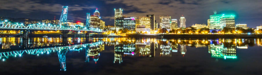 Cityscape and skyline of Portland, Maine at night