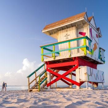 colourful lifeguard tower south beach, miami