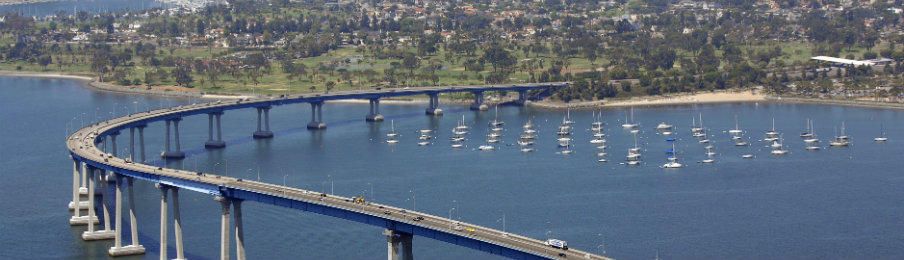 driving to coronado bay bridge in san diego from vista