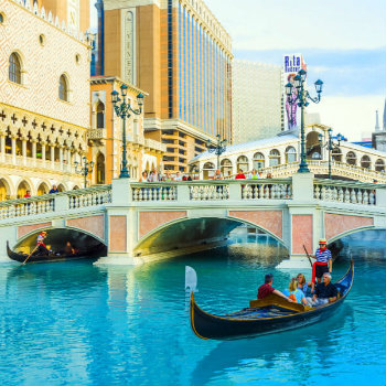 Two couples enjoying the gondola ride at Venice resort, Las Vegas, Nevada, USA