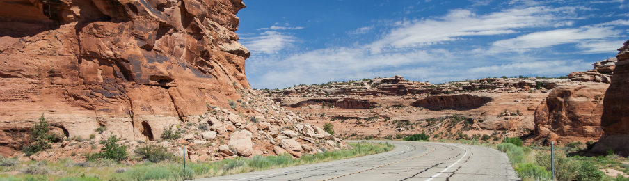driving along grand mesa near colorado national monument at grand junction in colorado
