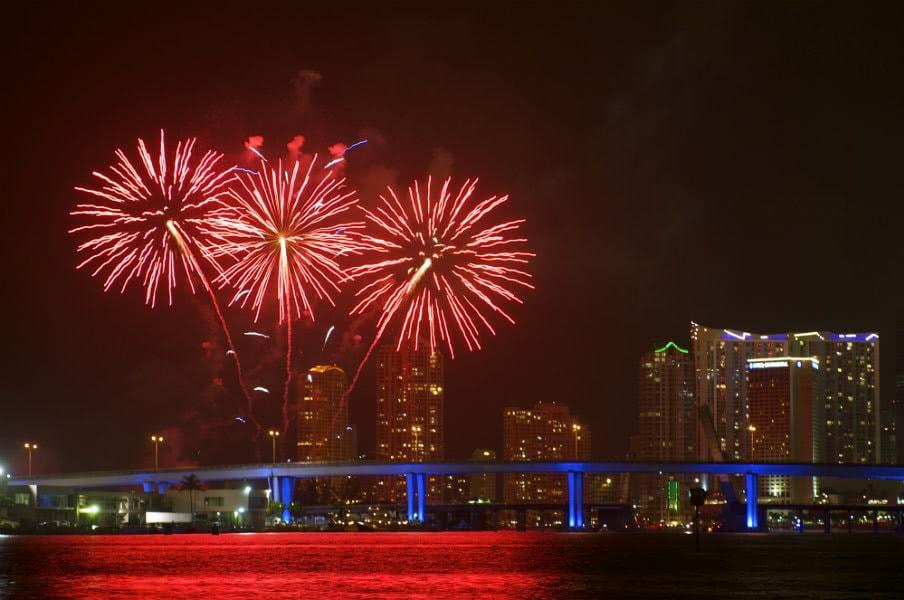Fireworks display at Biscayne bay, Miami Florida, USA
