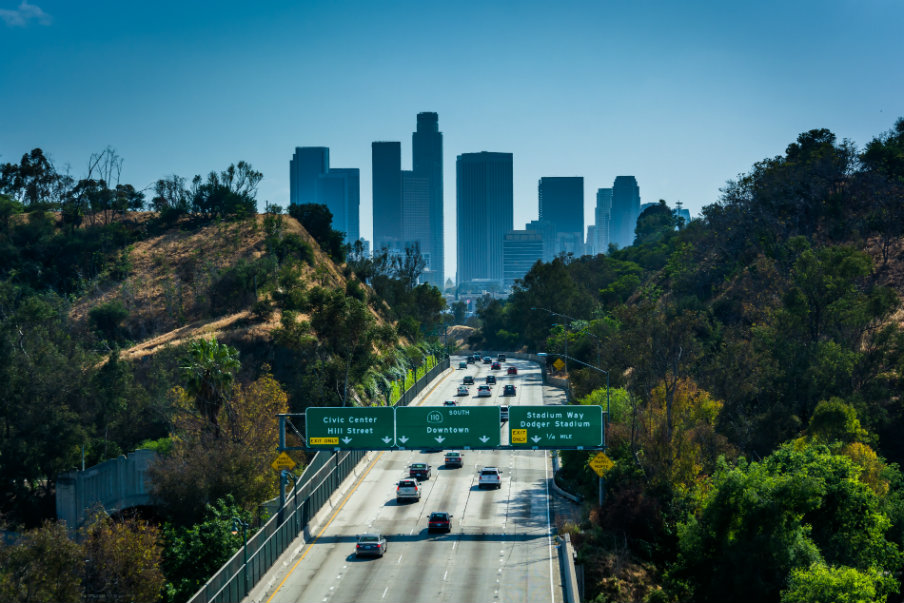 110 Freeway and Los Angeles skyline from Park Row Drive Bridge
