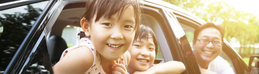happy children inside the car