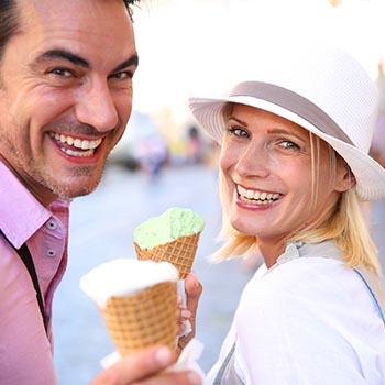 happy couple eating ice cream
