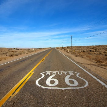 historic route 66 crossing mojave desert