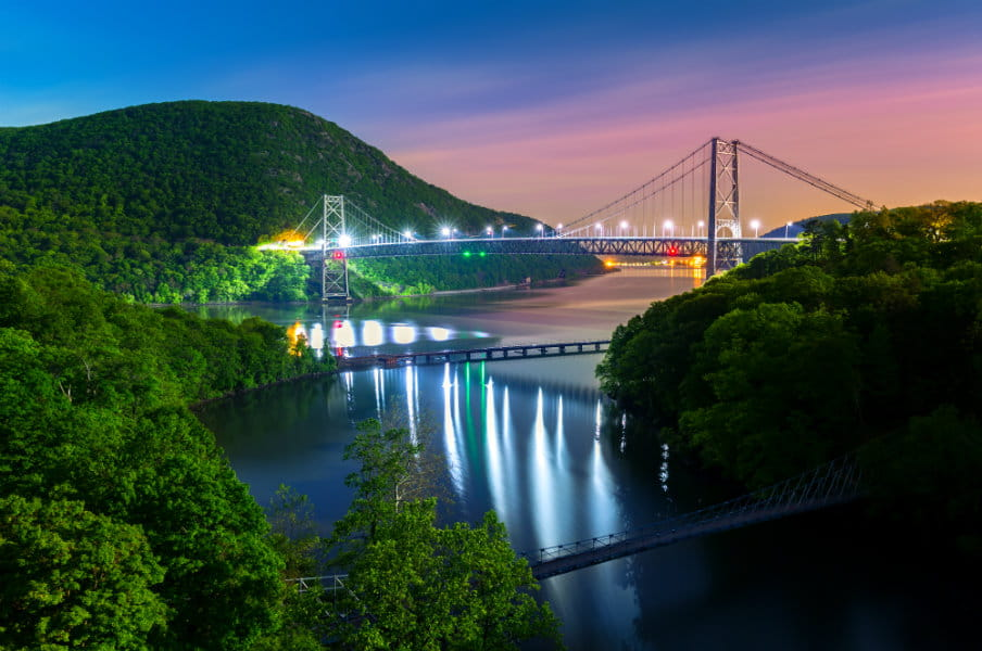 Hudson River Valley with Bear Mountain bridge, New York, US