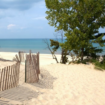 indiana sand dunes on lake michigan shoreline