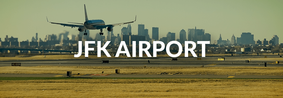 A plane lands in JFK airport