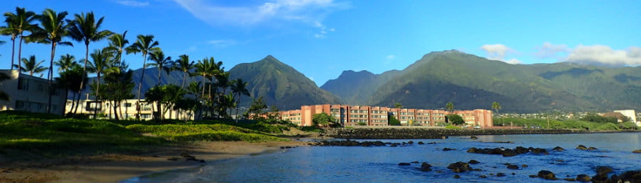 Kahului bay with hotel on West Maui, Hawaii, USA
