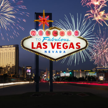 las vegas sign with fireworks on the background