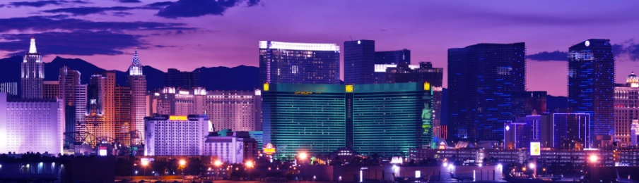 buildings lit up at night at the Las Vegas strip