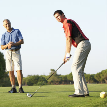 Two men enjoying golf