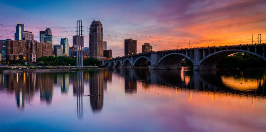 Minneapolis sunset skyline