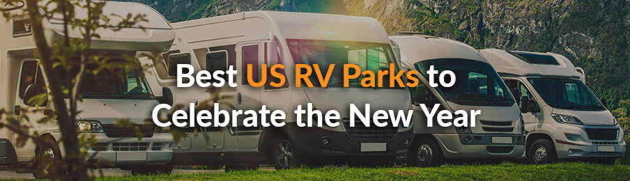 Motorhomes and RV rentals parked in the remote location in the US