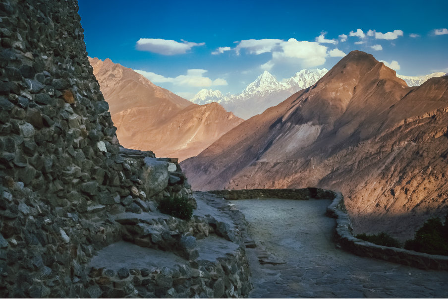 narrow path - trail to ultar meadow in pakistan