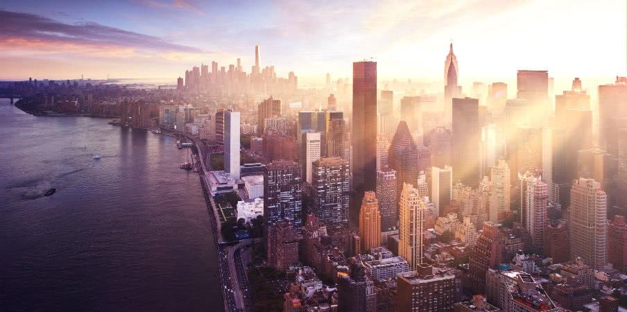 New York city skyline at sunrise