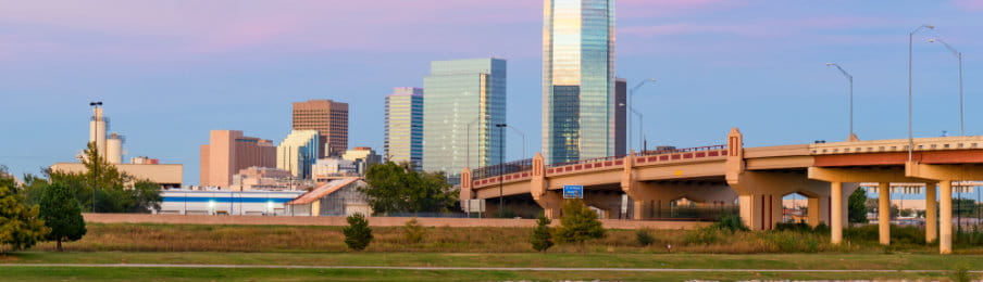 Oklahoma city skyline at sunset