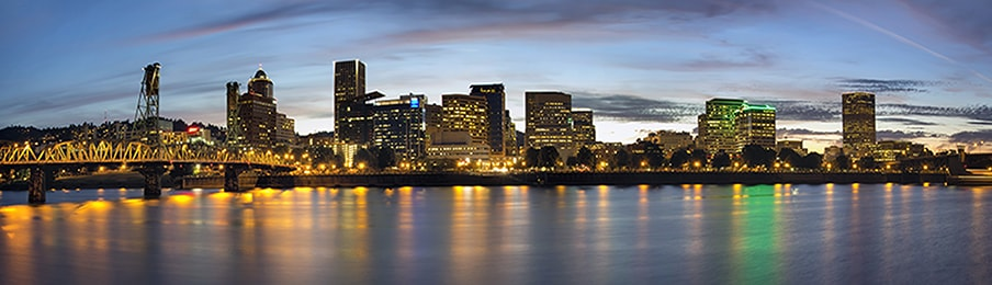 portland oregon downtown waterfront skyline at night