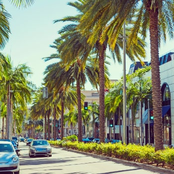rodeo drive on a sunny day california us