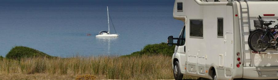 rv rental parked near the beach