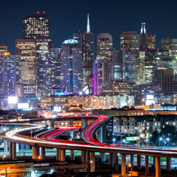 san francisco skyline with rush hour traffic on highways