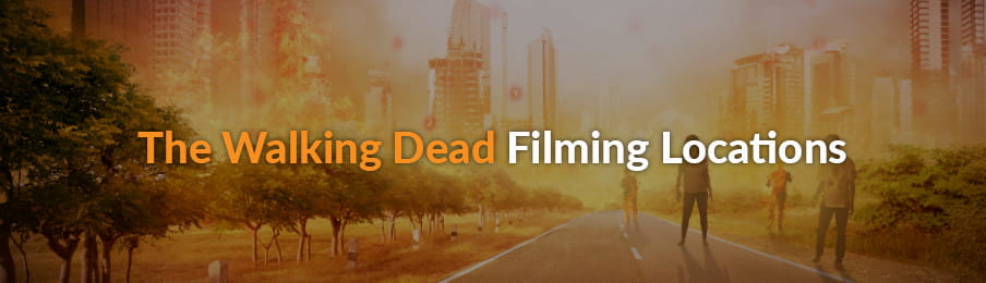 Several zombies walking on the street - The Walking Dead Filming Locations
