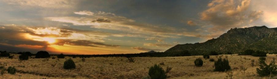 stunning desert sunset over Sandia Mountains of Albuquerque