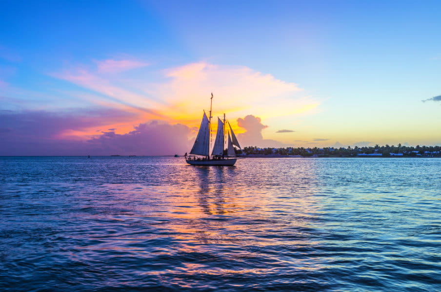 Sunset at Key West, Florida with sailing boat