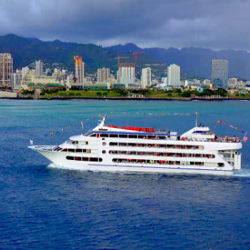 Sunset dinner cruise ship in Honolulu harbor, Oahu, Hawaii