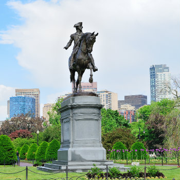 The Famous George Washington statue in Boston Common Park