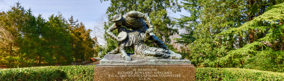 view of richard rowland kirkland monument in fredericksburg, virginia