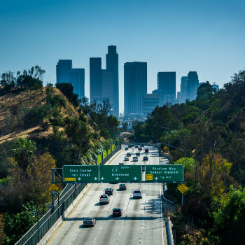 View of the 110 Freeway from Park Row drive bridge, Los Angeles