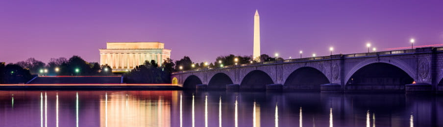 Washington DC Monuments on the Potomac River
