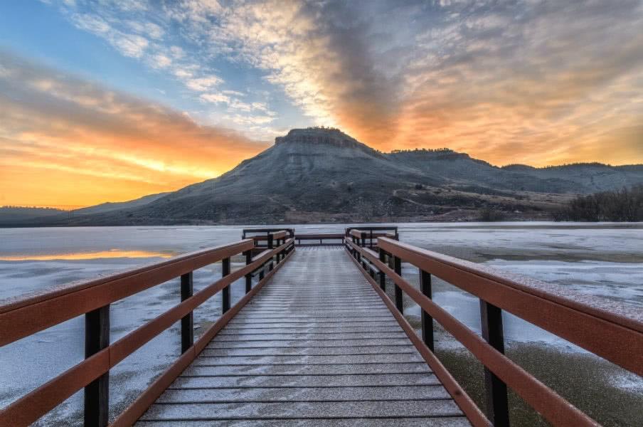 Winter sunrise at Flatiron Reservoir located in Loveland, USA